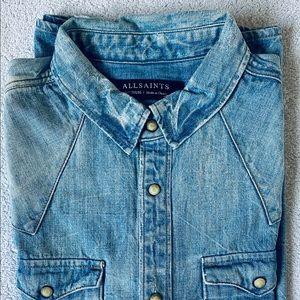 ALL SAINTS Mens Western Denim Shirt